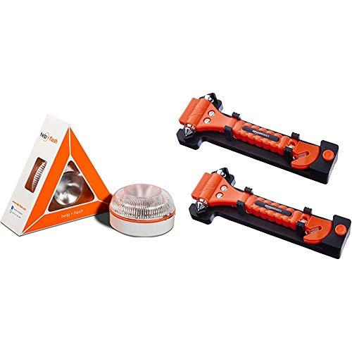 Help flash - Luz de emergencia autónoma - Señal v16 de preseñalización de peligro, homologada DGT & Amazon Basics - Cortador de cinturón de seguridad y martillo rompecristales de emergencia, pack de 2