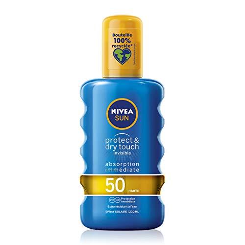 NIVEA SUN Spray solaire Protect & Dry Touch FPS 50 (1x200 ml), protection solaire 100% transparente résistante à l'eau, écran solaire non gras absorption rapide