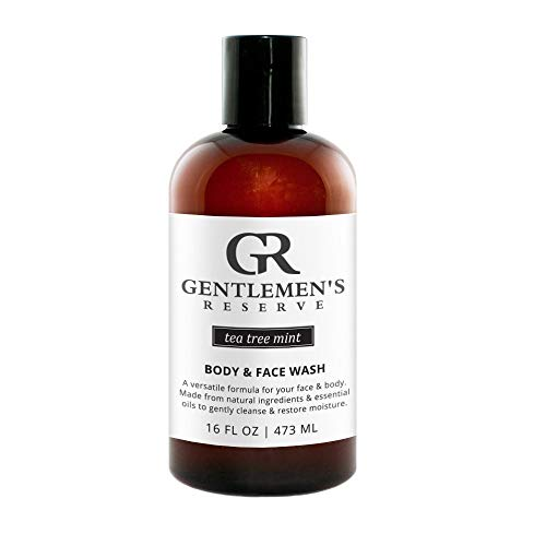 Gentlemen's Reserve Organic 2-in-1 Wash (Tea Tree Mint Scent), Men's All-Natural Body & Face Wash for Normal, Dry, or Sensitive Skin, 16 oz.