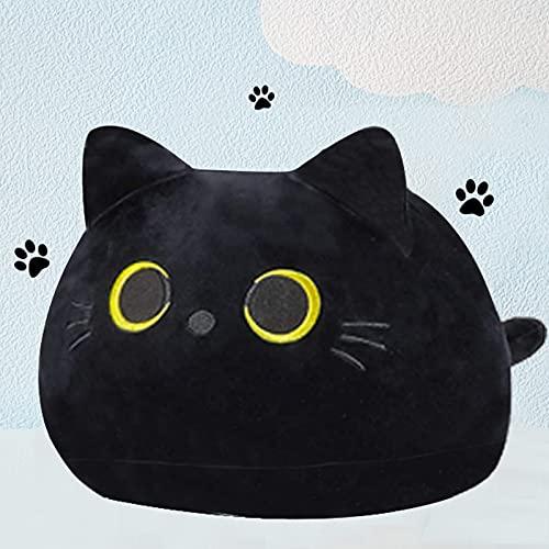 Katzenkissen Schwarze Katze Plüschtier weiches Stofftier Kopfkissen Plüschpuppe Weihnachten Geburtstagsfeier für Kinder(L,55cm)