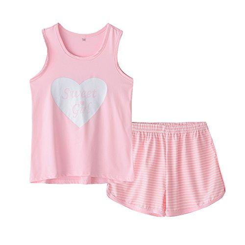 MyFav Big Kids Girls Sleeveless Sleepwears Hearts Shape Striped Pajama Nightgown Pink