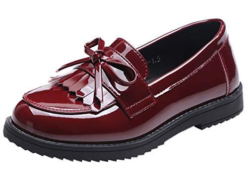 DADAWEN Girls' Slip On Loafers Flat Pumps Fringe Tassel School Shoes Red 11...