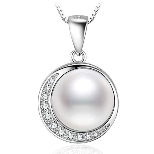 J.Vénus Damen Schmuck, Damen Mond Perlenkette Kleine Perle Halskette 925 Sterling Silber Zirkonia Anhänger mit Etui Italien kette