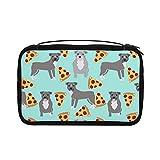 Neceser transparente para mujer, bolsa de viaje con gancho para colgar accesorios de artículos de tocador (Pitbull Blue Pitty Pizza Cute Dogs)