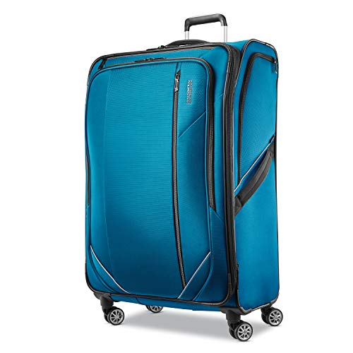 American Tourister Zoom Turbo Softside Expandable Spinner Wheel Luggage, Teal Blue, Checked-Large 28-Inch