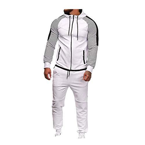 N\P Autunno e Inverno Grandi Uomo Stripe Splicing Casual Suit Sportswear Uomo Suit bianco XXL