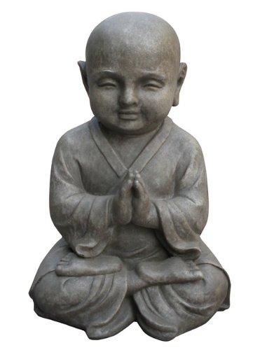 Figur Shaolin Mönch in Meditation - für Haus und Garten - Höhe 42 cm - grau