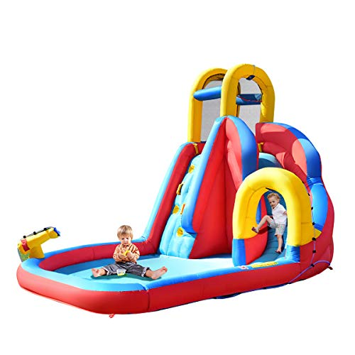 COSTWAY Inflatable Bouncy Castle, Jumper House Water Pool Slide Activity Center with Water Slide, Climbing Wall, Water Gun and Pool Area for Kids (Dark Blue Slide)