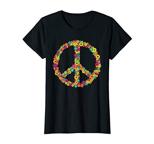 Damen Flower Power Peace Hippie 60er 70er Jahre Frauen Geschenk T-Shirt