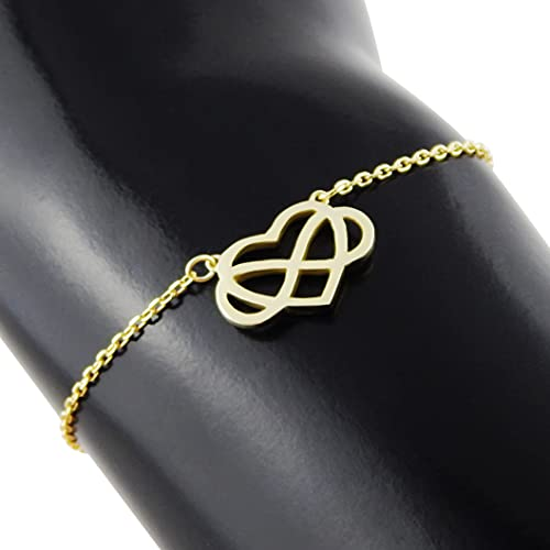 Hanessa 925 real silver rhodium plated women's jewellery bracelet and pendant made of real silver heart infinity gold gift for women