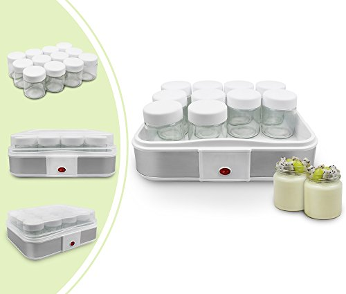 Leogreen - Yogurtera, Máquina para Yogur Natural y Saludable, 12 frasco, 30,6 x 25 x 12,4 cm, Blanco, Capacidad por frasco: 0,21 L