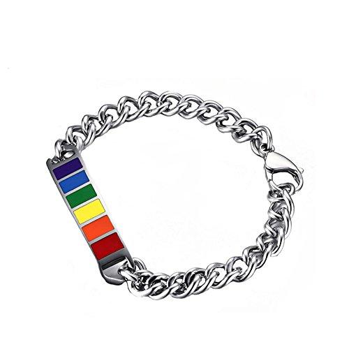 Joielavie Pulsera de joyería con placa de arco arco iris a rayas gay lesbianas LGBT Pride de acero inoxidable de goma ajustable cadena de eslabones pulsera para hombres y mujeres