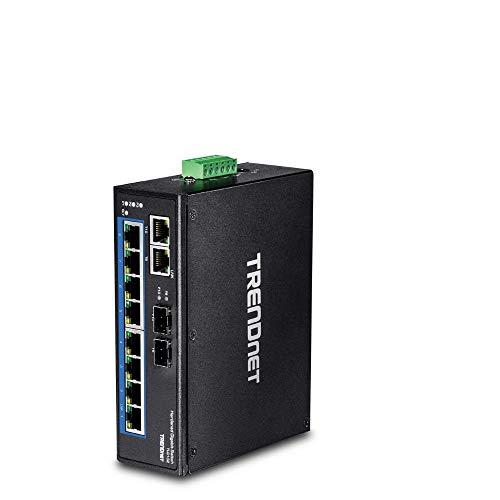 TRENDnet 10-Port Gehärteter Industrieller Gigabit DIN-Schiene Switch, Enthält DIN-Schiene und Wandhalterung, Dual redundant, RJ-45/SFP, TI-G102
