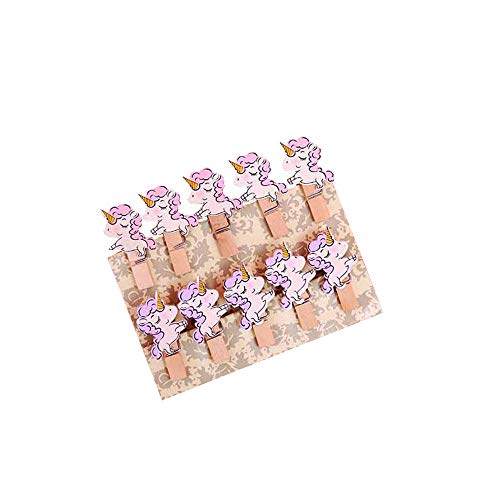 Pinzas de Madera 10 unids/set clip de madera de colores decoración navideña lindos clips de papel de nota papelería pinza de ropa pinzas para manualidades clavijas-Unicornio