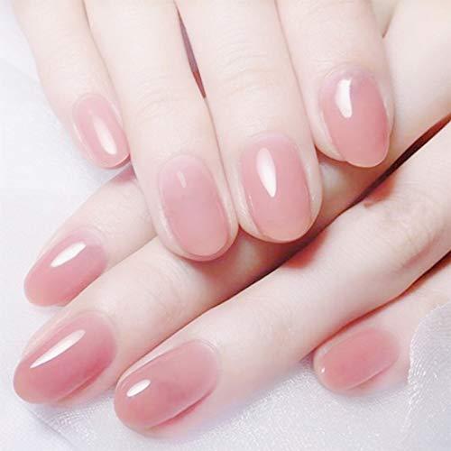 Handcess 24pcs Nude Pink Falsche Nägel Bling Glitter Glossy Finish Full Cover Gel Gefälschte Nägel Kurze Runde Acryl Nail Art