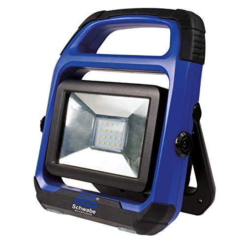 as - Schwabe Chip-LED Akku Arbeitsleuchte – 20 W Profi Baustrahler – LED Spot geeignet als Baustellenstrahler – Mobile LED Leuchte für die Außenbeleuchtung – Akku mit Batterieanzeige - Blau I 46492
