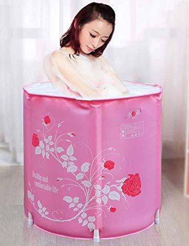 Mlshbt bathtub Erwachsene Badewannen Faltbare tragbare Badewannen für Erwachsene Badewannen Kunststoff-Badewannen Heiße Eiswannen Rosa Farbe, 65x65cm