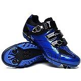 Zapatillas de Bicicleta MTB Pro para Hombre,Zapatillas de Bicicleta de Montaña SPD Zapatillas de Bicicleta de Carretera Zapatillas de Ciclismo Al Aire Libre Transpirables,Blue-EU38