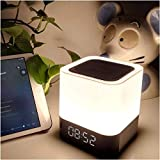 PANGPANGDEDIAN Reloj de Pared Reloj Despertador Luz de Noche Bluetooth Cambio de Altavoz Sensor táctil Lámpara de Cama Lámpara de Cama Dimmable Reloj Digital Relojes Waker (Color : White)
