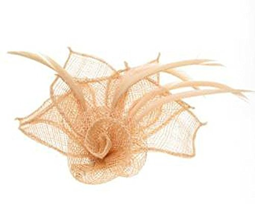 Crystal Innovation-4316 Peach Coloured hessian netted rose with 3 petals fascinator on a beak clip and brooch pin by Crystal Innovation