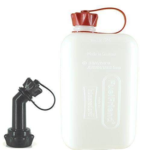FuelFriend®-Big Clear max. 2,0 Liter - Klein-Benzinkanister Mini-Reservekanister mit UN-Zulassung + verschließbares Auslaufrohr