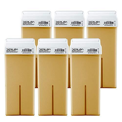 6 x Cera depilatoria Roll On cartuchos de 100ml Miel | Pack 6 x Roll-on Cera para depilación - Depilion