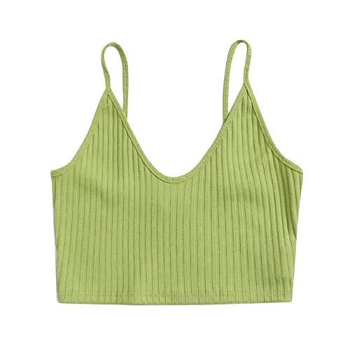 Elegante camiseta de manga corta para mujer, de un solo color, sin mangas, para suéter, chaleco, camiseta sin vientre previsto, fecha y turismo verde M