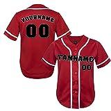 TOPTIE Maillot de Baseball Personnalisé pour Femme, Chemise Sportwear Équipe Jeunesse-Rouge Blanc-L