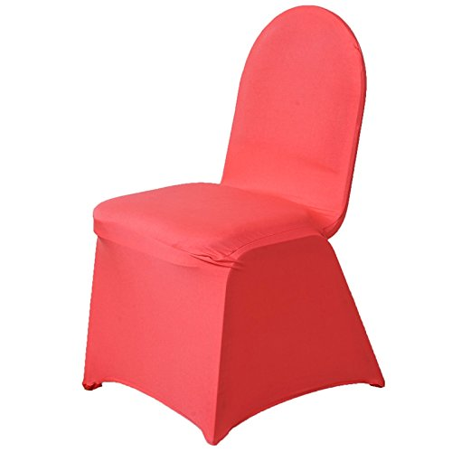 BalsaCircle 10 pcs Coral Spandex Strechable Banquet Chair Covers Slipcovers for Wedding Party Reception Decorations