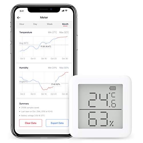 SwitchBot Thermometer Hygrometer Hygrometer Wireless Indoor - Sensore di umidità della Temperatura, Add Hub Plus Mini Compatibile con Alexa, Google Home, HomePod, IFTTT