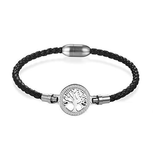 Flongo Lederarmband Männer Armreif Damen Armband, Edelstahl Leder Armband Armreifen Strass Lebensbaum mit Magnet Schließe Schwarz Silber