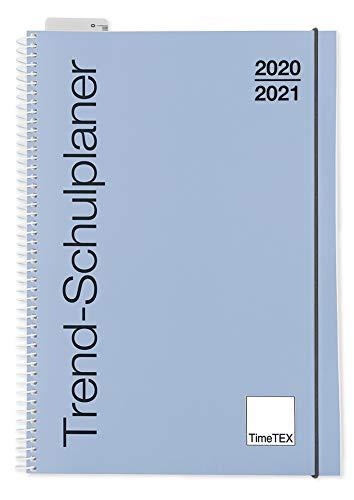 TimeTex Trend-Schulplaner A5 Taubenblau - Ringbuch - Schuljahr 2020-2021 - Lehrerkalender - Unterrichtsplaner - Timetex 10592