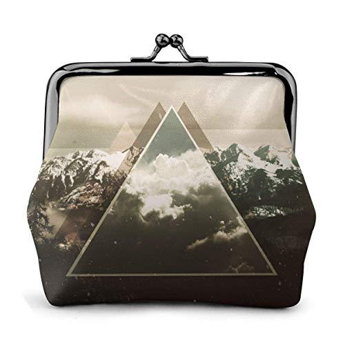 Monedero de Cuero Hebilla de triángulo de montaña de Nieve Monederos Monedero de la Vendimia Bolsa de Cambio de Beso-Cerradura