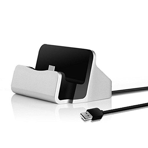 tomaxx Dockingstation TYP-C Dock Tischladetsation mit USB-C für OnePlus 2 / Microsoft Lumia 950 / 950XL / Gigaset ME / Gigaset ME Pro / Gigaset ME Pro Pure /ZUK Z1 / Innos D6000 (Silber)