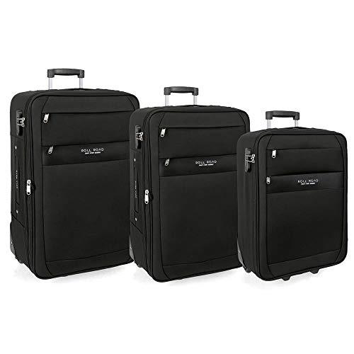 Roll Road Carter Juego de maletas Negro 55/66/76 cms Blanda Poliéster Cierre combinación 204L 2 Ruedas Equipaje de Mano