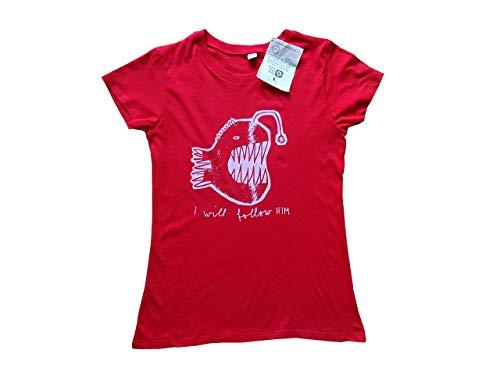 Anglerfisch, I will follow him, Bio T-Shirt Frauen, rot, Gr. S, mit Handsiebdruck, Fisch, Laternenfisch