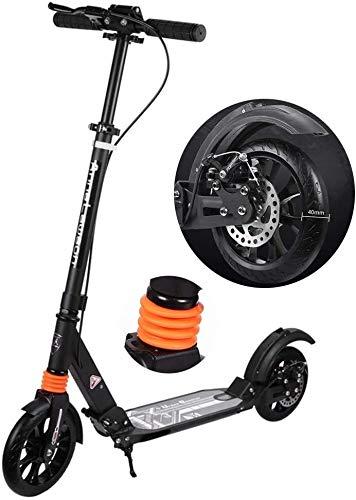 Scooter H- Patinete Kick Adultos Livianos Plegables con Frenos De Disco, Aleación De Aluminio con Ruedas Grandes De 40 Mm, No Eléctrico, Soporte 100kg (Color : Black)