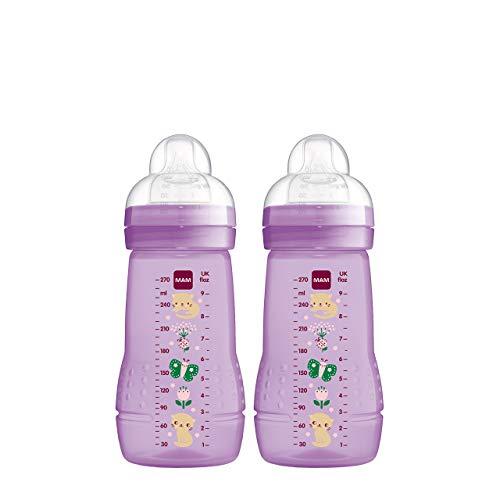 MAM Easy Active Trinkflasche im 2er-Set (270 ml), Baby Trinkflasche inklusive MAM Sauger Größe 1 aus SkinSoft Silikon, Milchflasche mit ergonomischer Form, 0+ Monate, violett