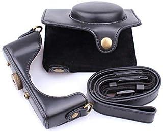 windykids Canon PowerShot SX740 HS カメラケース 黒 SX740HS ケース キャノン パワーショット カバー カメラカバー カメラバッグ バッグ レザーケース 一眼 デジカメ 合成革 一眼レフ デジタルカメラ用 ストラップ canon-sx740(sx730/720) canon-sx740(sx730/720),黒