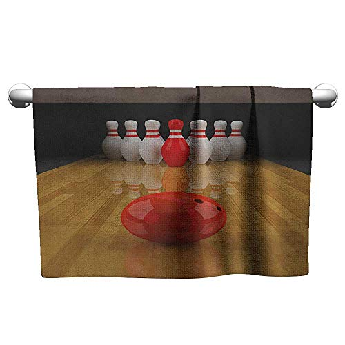 xixiBO Towel W28 x L14 Bowling Party,Alley with Red Skittle in Center Target Score Winning Competition, Pale Brown Red White Large Towel