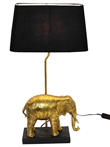 Bada Bing Hochwertige Große Tischlampe Elefant Gold Schwarz Lampe Dekolampe Tischleuchte Extravagant Edel Safari Afrika Geschenk 48