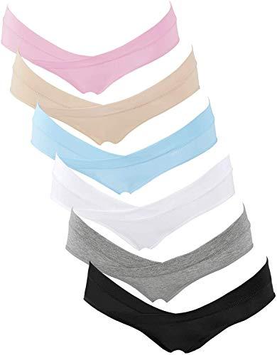 crazy bean Umstands-Slips Mit Niedriger Taille Unterhosen für Schwangerschaft Nach der Geburt Baumwolle Unterwäsche Baumwolle Umstandsmode 6er Pack