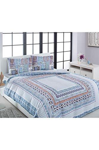 Özdilek Venice - Juego de funda nórdica y funda de almohada de satén suave para cama
