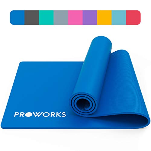 Proworks Yoga Mat, Eco Friendly NBR, Non-Slip Exercise Mat with Carry Strap for Yoga, Pilates, and Gymnastics - 183cm x 58cm x 1cm - Blue (Sports)