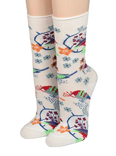 CRÖNERT Socken Longsocks mit Rollsaum Design Vögel & Blüten 18902 (weiss, 39-42)