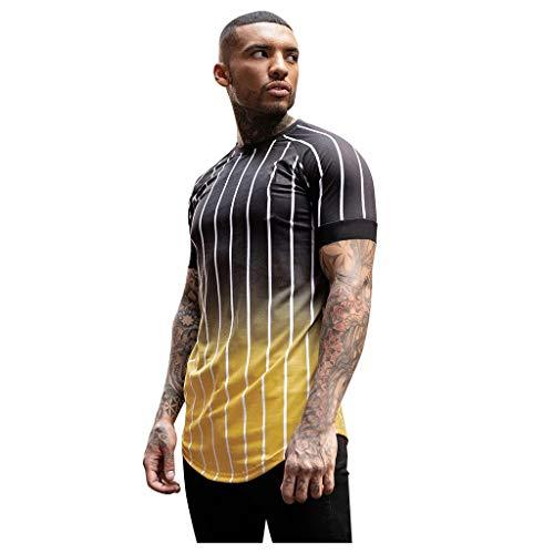 Yowablo T-Shirts 3D Drucken Sommer-beiläufige Kurze Hülsen T-Stücke lässig O-Ausschnitt Kurzarm gestreift Gradient (XS,1Gelb)
