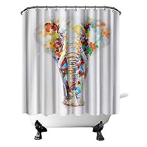 "Elephant Shower Curtain Elephant with Watercolor Bathroom Curtain Wild Animal Fabric Curtain for Bathroom Decor with Hooks 72"" X 72"" Inches Colorful Grey"