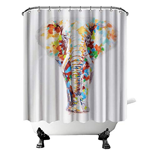 OuElegent Elephant Shower Curtain Elephant with Watercolor Bathroom Curtain Wild Animal Fabric Curtain for Bathroom Decor with Hooks 72' X 72' Inches Colorful Grey