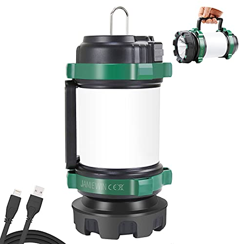 JAMIEWIN Rechargeable Camping Lantern, Lantern Flashlight with 6 Modes 4000mAh Power Bank Waterproof 3 in 1 Camping Lights Torch for Hiking Exploration Hurricane Emergency Outdoor Indoor