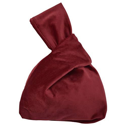 Cizen - Bolso de mano de terciopelo, para mujer con mujer, estilo informal, de peluche, bolsa de noche, color rojo